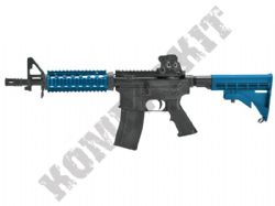 MC6624 M4 CQB Assault Rifle Gas Blowback Airsoft BB Machine Gun 2 Tone Blue Black